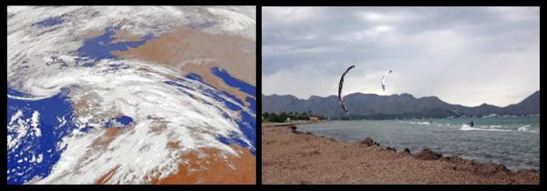Gregal wind auf Mallorca kitesurfen