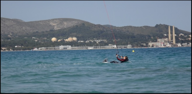4 Martina learning how to waterstart kite course in April in Alcudia
