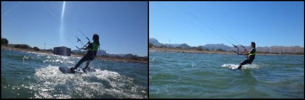 Elisa depart dans le waterstart cours de kite en Juillet Alcudia Majorque