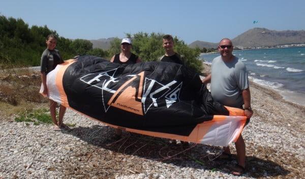 Kite lessons in May Mallorca kiteschool Lars Anya Heidi and Allan