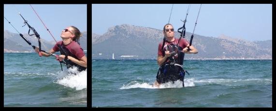 après une heure et demie notre étudiant de kitesurf contrôle le bodydrag
