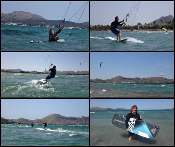 kitesurfen mallorca sweitze madchen kitekurs im Mai