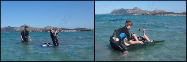 1-уроки-кайтсерфинга-Майорка kitesurfing mallorca Лия-готовится-к-водному-старту