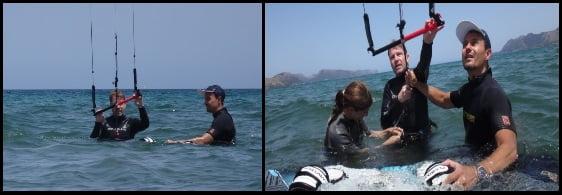 1 Bernard va essayer le waterstart a son cours de kitesurf à Majorque en Juillet