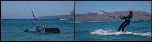 1 Sofie premier cours de kite d'eau à Majorque en juillet mallorca kiteschool com