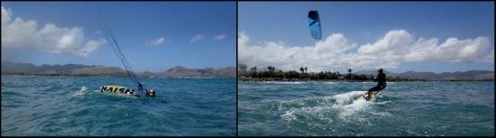 1 waterstart kitesurf Pollensa Carolina aprendiendo kite en Mallorca