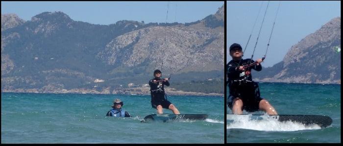 3 Kristina lista para waterstart clases de kitesurf Mallorca kitespot Pollensa en Julio
