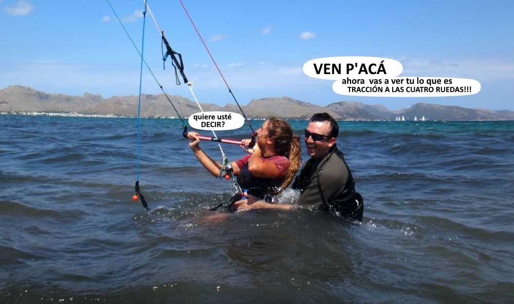 3 clases de kitesurf en Mallorca Bea Carlos e Ilia