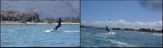 5 la familia aprende kitesurf haciéndolo los tres muy bien, Caroline fué la mejor