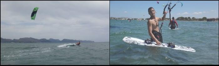 modelo Peak de 12 mts y una tabla de kitesurf modelo Flysurfer XL curso de kite en Pollensa