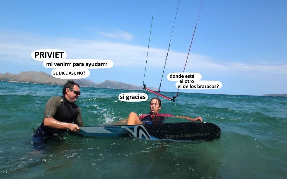 7 preparando el waterstart clase de kite en Alcudia en Julio