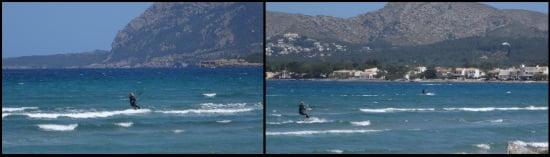 8 navegando hacia Sa Marina curso en la escuela de kitesurf Mallorca en junio