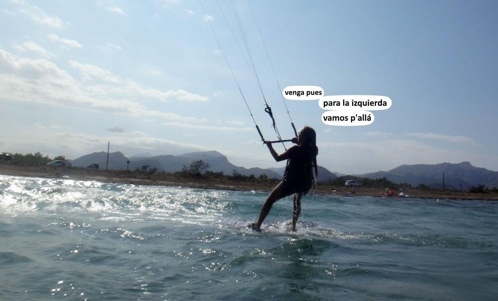 9 Bea waterstart y navegando primer curso de kite Pollensa