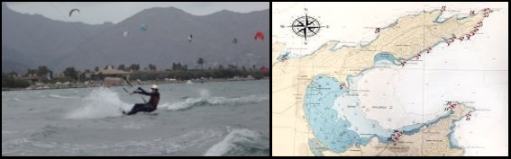Passer devant la caméra cours de kitesurf a le spot de kite a Majorque