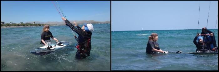Persiguiendo un sueño, waterstart kite en Mallorca en Mayo