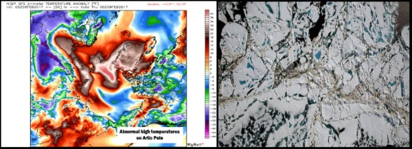 hautes températures anormales dans le pôle nord
