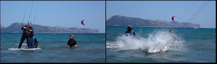 que hermoso splash buena caida aprender kitesurf en Mallorca