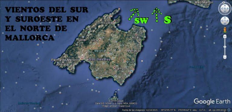 le kitesurf à Majorque vient du sud ou du sud-ouest