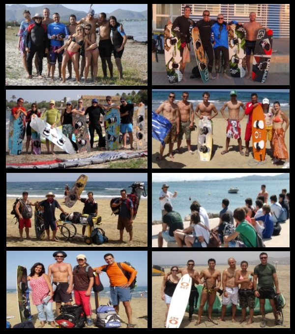 2 photos of some kite club members and kite students of kitesurfing mallorca