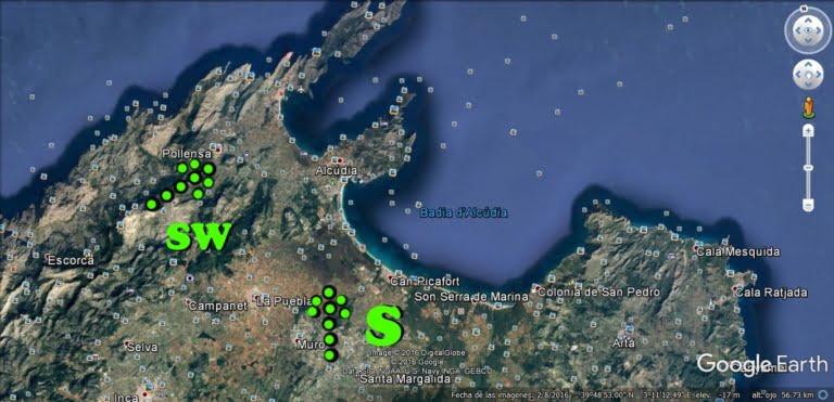 2 sud et sudwest a la bahie d'Alcudia et Pollensa