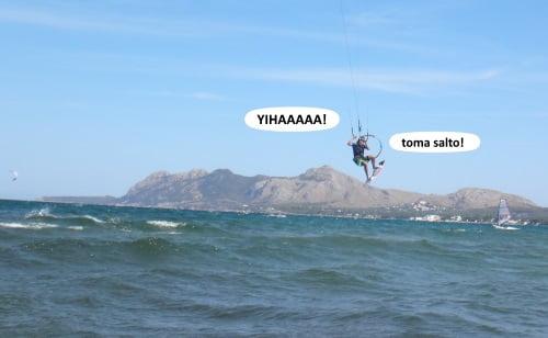 4 el hombre ya en faena escuela de kite en Palma de Mallorca