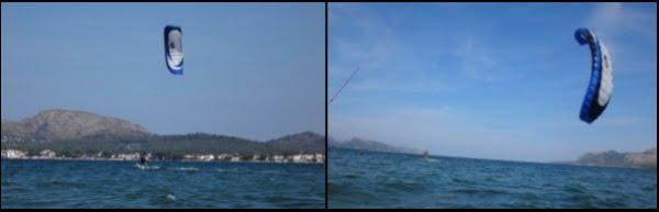 navegando de nuevo-hacia-la-izquierda-con-una-cometa y tabla flysurfer