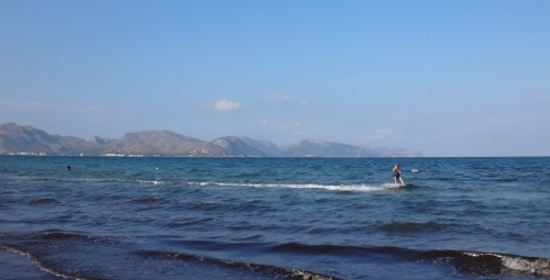 the best long in his first Carlos Kitesurfing waterstarts in Mallorca