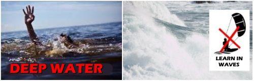 2 agua profunda o oleaje no sirven para aprender kitesurf
