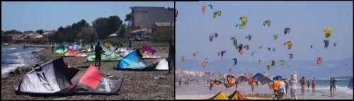 3 demasiados kites en la playa harán muy dificil tu progresion en tus lecciones de kite