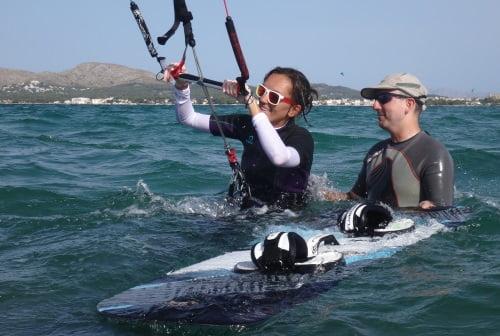 6 lecciones de kite en Mallorca el waterstart en Julio
