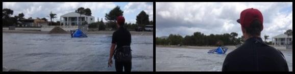 8 el kite de tubo cae al agua