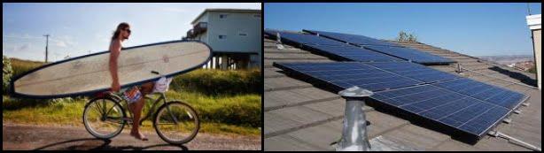 9 muevete en bicicleta y usa placa solar