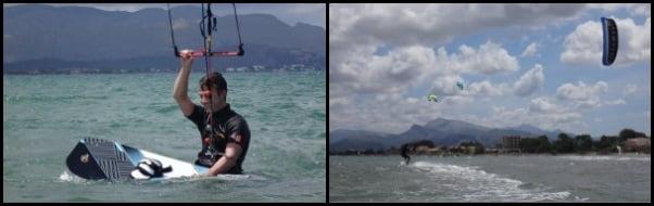 posicionamiento tabla de kite alejándose upwind kitesurf en mallorca