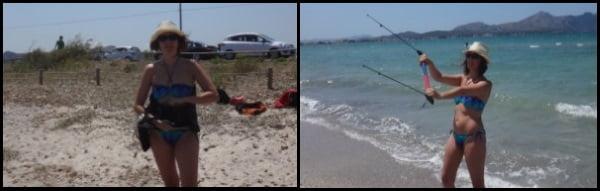 2 En la playa de Pollensa al empezar las clases de kitesurf en Julio