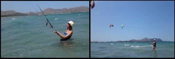 3 Carmen en la escuela de kite de Mallorca en Julio