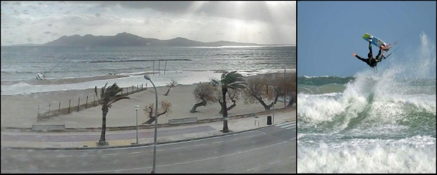 8 wind in Mallorca in June kitesurfing on the island
