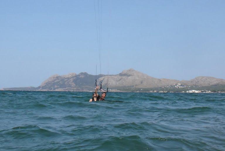 1 positioning for waterstart kitesurfing course in Pollensa