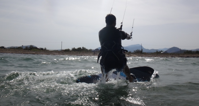 2 first waterstart Jose kitesurfing in Pollensa