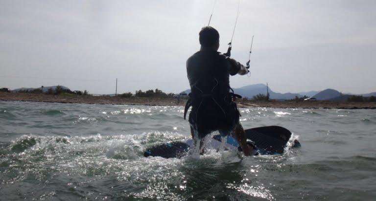 2 first waterstart Jose kitesurfing in Pollensa
