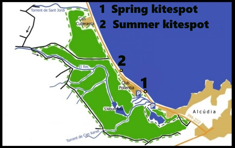 Our-kiteschool-kitesurfing-mallorca-offer-kite-lessons-in-the-authorized-areas-of-SAlbufereta-Nature-Park-1-768x484