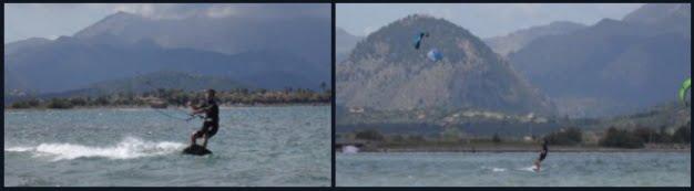 2 alejandose y ciñendo curso de kitesurf en Mallorca