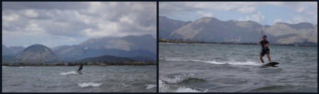 3 navegando de kitesurf a gran velocidad