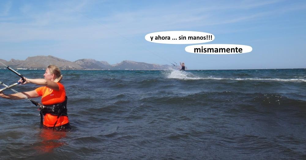 9-mama-ahora-sin-manos-kitesurfing-en Alcudia y Pollensa mallorca