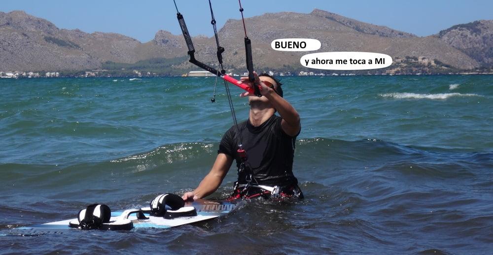 9 ahora waterstart y ceñir clases de kite en Alcudia